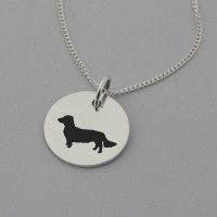 Long Haired Dachshund Silhouette Necklace