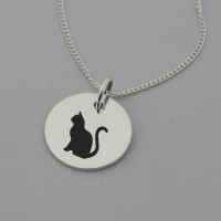 Cat Silhouette Sterling Silver Necklace