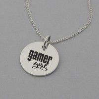 Gamer Girl Necklace with 'I can't hear you!' Engraved on the Back