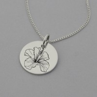 Hibiscus Engraved Necklace