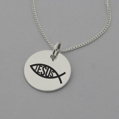 Religious Fish Symbol with Jesus Engraved Necklace