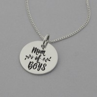 Mom of Boys Engraved Necklace
