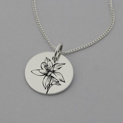 Orchid Engraved Necklace