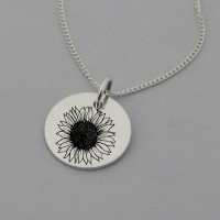 Sunflower Engraved Necklace