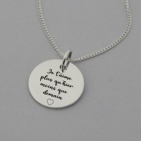 Poetry Engraved Pendant