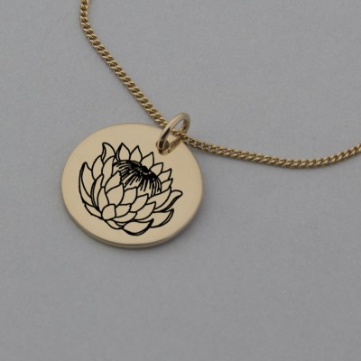 Rose Gold Protea Necklace