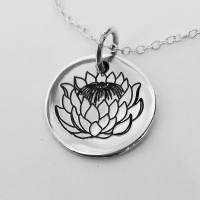 King Protea Engraved Pendant