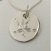 Pansy / Sand Dollar Engraved Pendant