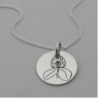 Red Disa Engraved Pendant