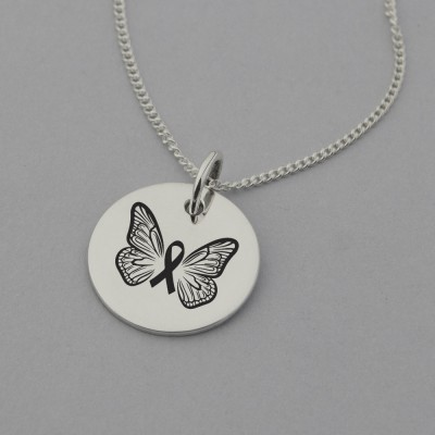 Butterfly and Cancer Ribbon Necklace with 'Brave and Strong' Engraved on the Back