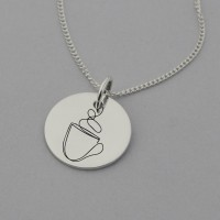 Coffee Cup Necklace with 'Life happens Coffee helps' Engraved on the Back