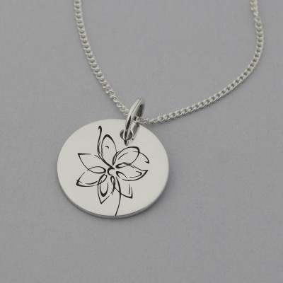 Delicate Flower Necklace with 'small steps every day' Engraved on the Back