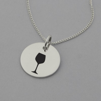 Wine Glass Necklace with 'Wine Not?' Engraved on the Back