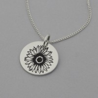 Sunflower Necklace with 'Hope' Engraved on the Back
