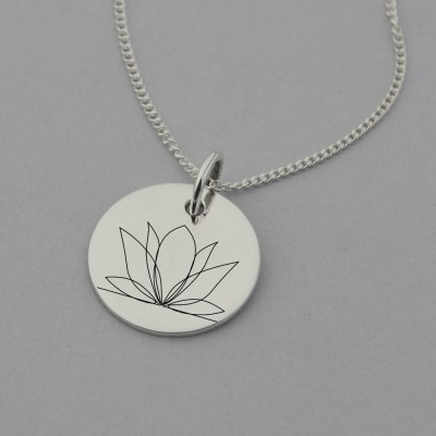 Lotus Engraved Necklace