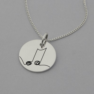 Music Note Necklace with Engraving on Reverse