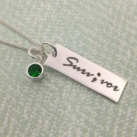 Survivor Engraved Necklace with Coloured Cubic Zirconia Stone