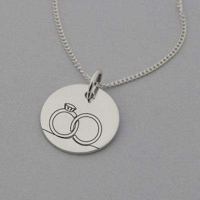 Engagement Rings Necklace with 'May our story continue forever' engraved on the reverse