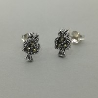 Owl Studs with Marcasites