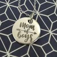 Mom of Boys Engraved Pendant