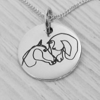 Single Line Engraved Horse Necklace