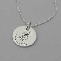 Guitar Engraved Necklace