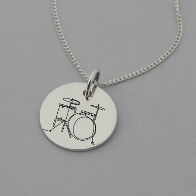 Drum Kit Engraved Necklace