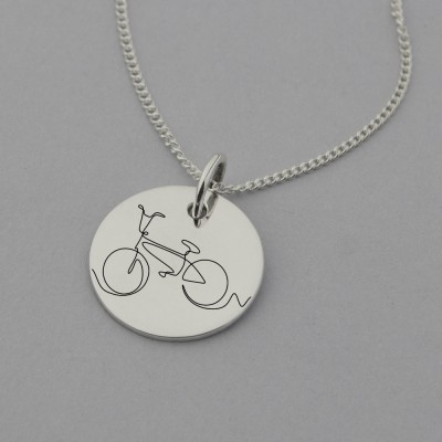 Bicycle Engraved Necklace