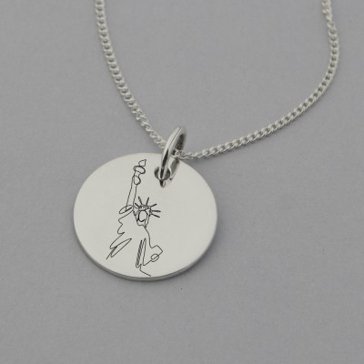 Statue of Liberty Engraved Necklace