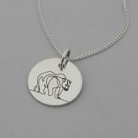 Bear Necklace with 'Not all who wander, are lost.' engraved on reverse