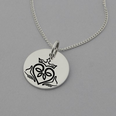 Claddagh Symbol Necklace with 'I give you my Heart' engraved on the reverse