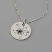 Gladiolus Flower Necklace with 'Keep Going' on reverse