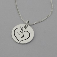 Horse in Heart Engraved Necklace