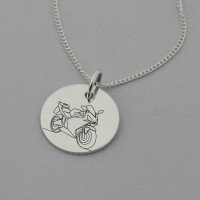 Road Motorbike Engraved Necklace