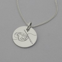Artist Palette Engraved Necklace with 'Creativity takes Courage' engraved on reverse