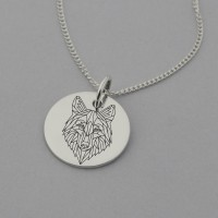 Geometric Wolf Engraved Necklace
