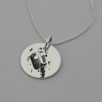 Vintage Microphone Engraved Necklace with 'Music can change the world' engraved on the reverse