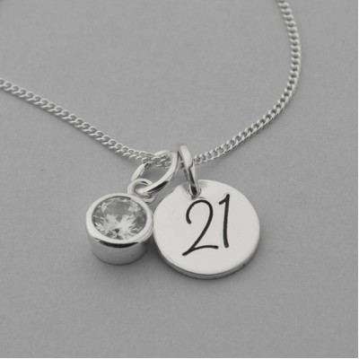 21 Engraved Necklace with Cubic Zirconia
