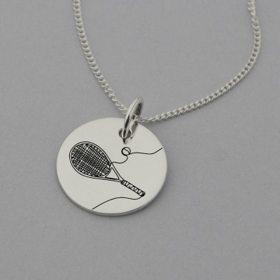 Tennis Engraved Necklace