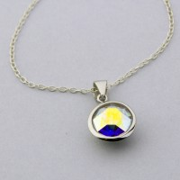 10mm Round Aurora Boreal Swarovski Necklace