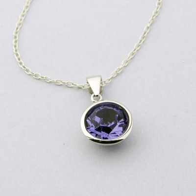 10mm Round Tanzanite Swarovski Necklace