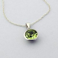 10mm Round Peridot Swarovski Necklace