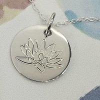 Water Lily of July Birth Flower Pendant