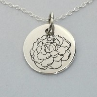 Carnation of January Birth Flower Pendant