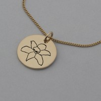 Daffodil of March Rose Gold Birth Flower Pendant