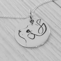 Cat Single Line Engraved Necklace