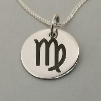 Virgo Star Sign Symbol Engraved Necklace