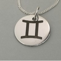 Gemini Star Sign Symbol Engraved Necklace